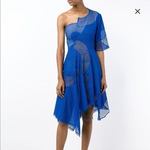 Stella McCartney runway blue asymmetrical dress